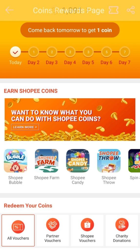 Games in eCommerce - Example of Gamified element of receiving rewards for daily logins.